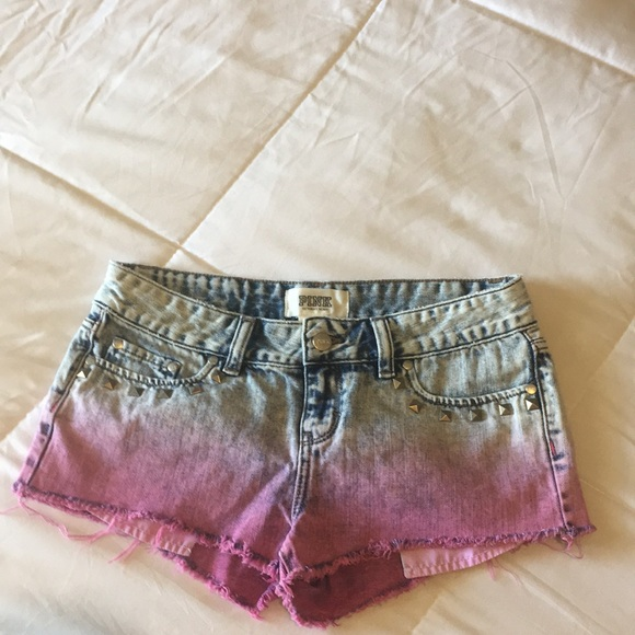 c37ebdabad053 PINK VS Studded Ombré Cheeky Cut Off Shorts sz 4